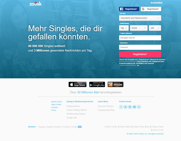 zoosk.de homepage